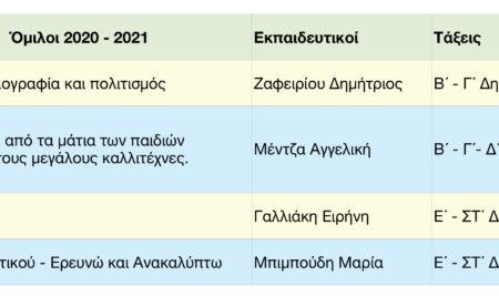 Όμιλοι 2020 – 2021